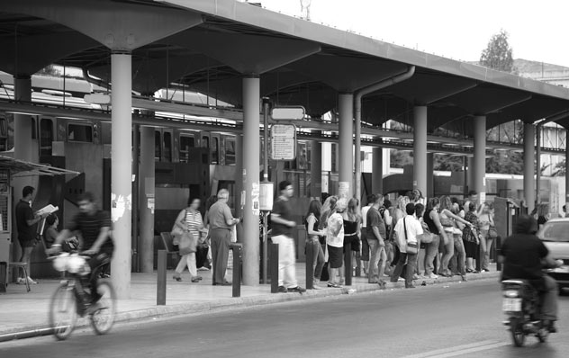Crowd at train stop